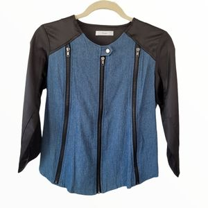 Dual Fabric Chambray Denim Fitted Jacket